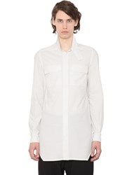 Rick Owens High Collar Cotton Shirt With Pockets