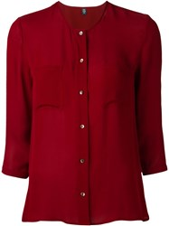 Eleventy Semi Sheer Shirt Red