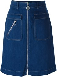 Stella Mccartney Zip Detail Denim Skirt Blue