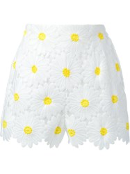 Dolce And Gabbana Daisy Applique Shorts White
