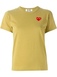Comme Des Garcons Play Logo Patch T Shirt Yellow And Orange