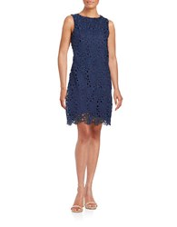 Karl Lagerfeld Lace Overlay Sheath Dress Radiant Navy