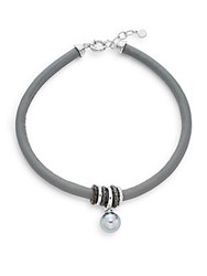 Majorica 16Mm Grey Round Pearl Leather Collar Necklace