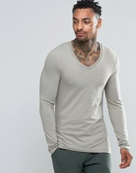 Asos Extreme Muscle Long Sleeve T Shirt With V Neck In Grey Grey Green