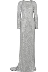 Kaufman Franco Crystal Embellished Silk Satin Gown