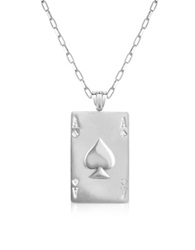 Sho London Sterling Silver Ace Of Spades Necklace