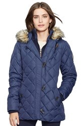 Women's Lauren Ralph Lauren Faux Fur Trim Toggle Closure Quilted Down And Feather Fill Jacket Regal Navy