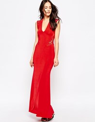Jessica Wright Rochelle Maxi Dress With Lace Back Red
