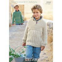Sirdar Children's Cabled Jumpers Knitting Pattern 2314