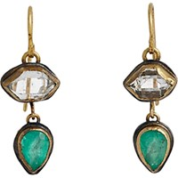 Judy Geib Women's Colombian Emerald And Herkimer Diamond Double Drop Earrings No Color