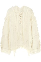 3.1 Phillip Lim Oversized Fringed Knitted Sweater Cream