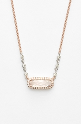 Meirat Stone And Diamond Pendant Necklace Rose Gold White Topaz