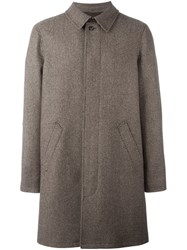 A.P.C. Woven Single Breasted Coat Brown