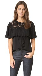 Rebecca Taylor Short Sleeve Georgette And Lace Top Black