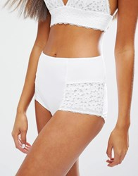 Monki Lace Highwaist Brief White