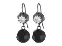 Lauren Ralph Lauren Hide And Chic Faceted Stone Double Drop Earrings Jet Crystal Hematite Earring Gray