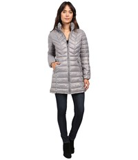 Jessica Simpson Long Packable Jacket With Hood Grey Women's Coat Gray