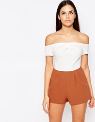 Love Cold Shoulder Playsuit Rust Ivory Orange