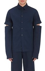 Hood By Air Men's Drill Work Shirt Blue