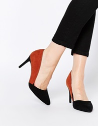 New Look Wide Fit Colour Block Heeled Court Shoe Brownpattern