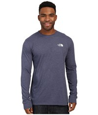 The North Face Long Sleeve Red Box Tee Cosmic Blue Heather Mid Grey Men's Long Sleeve Pullover