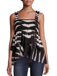 Tory Burch Lucea Tiered Smocked Tank Top Black New Ivory Animal Stripe
