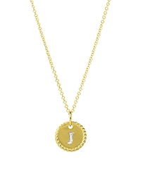 David Yurman Cable Collectibles Initial Pendant With Diamonds In Gold On Chain 16 18 J
