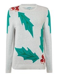 Dickins And Jones Holly Placement Christmas Jumper Grey