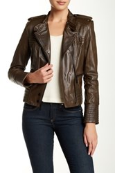 Vince Camuto Lambskin Leather Moto Jacket Green