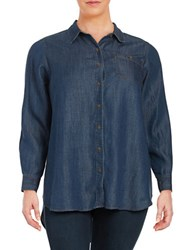 Lord And Taylor Plus Roll Tab Chambray Blouse Dark Wash