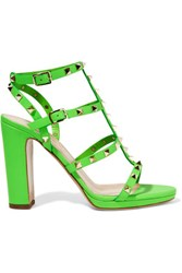Valentino Studded Neon Leather Sandals Bright Green