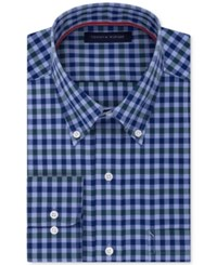 Tommy Hilfiger Men's Classic Fit Non Iron Navy Check Dress Shirt