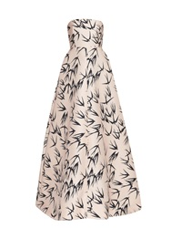 Rochas Strapless Swallow Print Gown