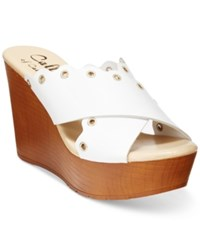 Callisto Darcii Platform Wedge Sandals Women's Shoes White