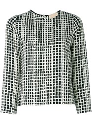 Erika Cavallini Graphic Print Blouse Black