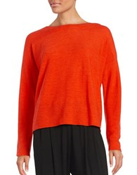 Eileen Fisher Petite Crewneck Ribbed Sweater Poppy