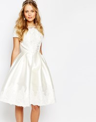 Chi Chi London Midi Dress With Embroidery And Cap Sleeve Cream