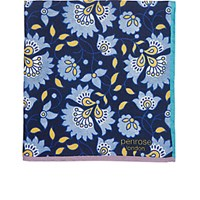 Penrose London Men's Floral Crossbill Pocket Square Navy