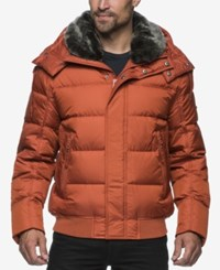 Marc New York Men's Kane Rockingham Puffer Bomber With Faux Fur Collar Rust