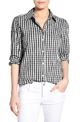 Women's Foxcroft Crinkled Gingham Shirt Black