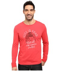 Life Is Good Wander Tent Crusher Long Sleeve Simply Red Men's Long Sleeve Pullover