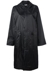 Gcds Logo Print Hooded Raincoat Black