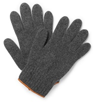 Oliver Spencer Cross Country Leather Trimmed Wool Blend Gloves Gray