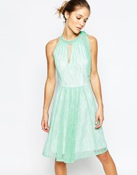 Traffic People Never Ending Story Halter Dress With Pleated Skirt Green