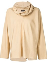 The Row Cowl Neck Top Brown