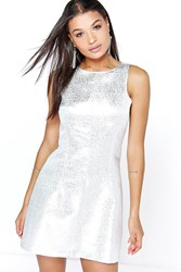 Boohoo Metallic Jacquard Seam Detail Skater Dress Silver