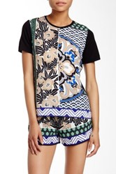 Hale Bob Printed Panel Blouse Blue
