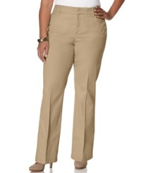 Jm Collection Woman Jm Collection Plus Size Twill Straight Leg Trousers Perfect Khaki