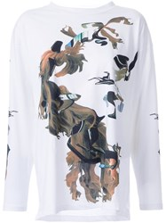 Maison Martin Margiela Mm6 Printed Long Sleeve T Shirt White