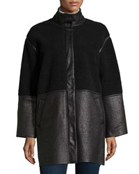 Catherine Catherine Malandrino Julian Faux Leather Bell Sleeve Jacket Noir